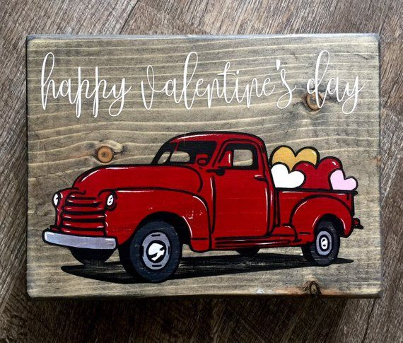Valentine S Day Wooden Signs Truck Crafts Red Truck Valentine