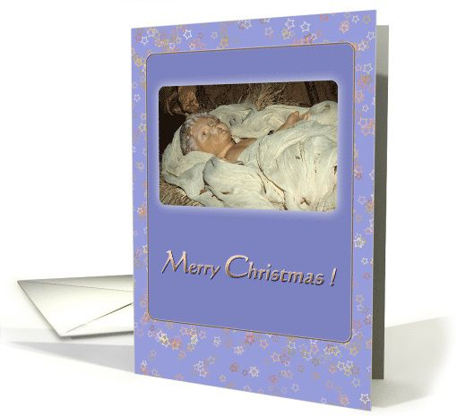 Baby Jesus in manger brown golden blue - Christmas Holidays card by steppeland