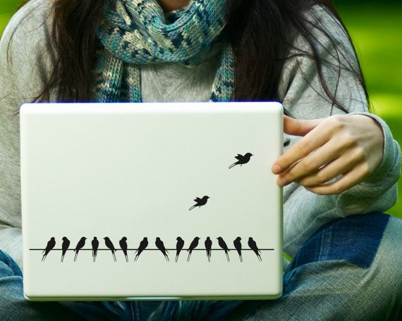 Birds on a Wire Sticker Decal Laptop Decal iPad by Zapoart on Etsy
