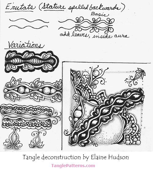 Zentangle pattern: E'rutats.