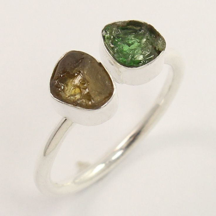 925 Sterling Silver Ring Size US 6.75 Natural YELLOW & GREEN TOURMALINE Gemstone #Unbranded
