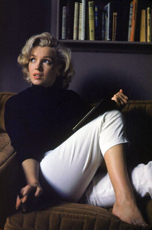 "Hollywood, 1953. ""Actress Marilyn Monroe at home."" 35mm color transparency by Alfred Eisenstaedt, Life magazine image archive."