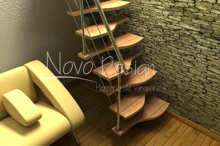 Escaleras espacios reducido pasos alternados curvo