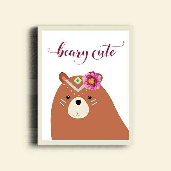 Bear Girl Nursery / Beary Cute / Tribal BEAR Wall Art / Cute Bear Nursery / Woodland Girl Nursery Wall Decor / Forest Animal Nursery Print