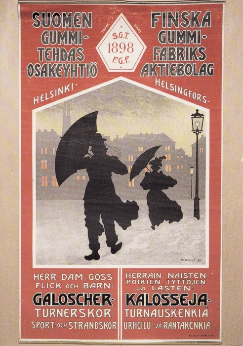 Vintage Finnish Advertisement for Rubber Boots and Umbrellas