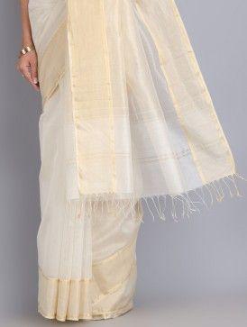 Ivory-Golden Zari Border Handwoven Cotton-Silk Saree
