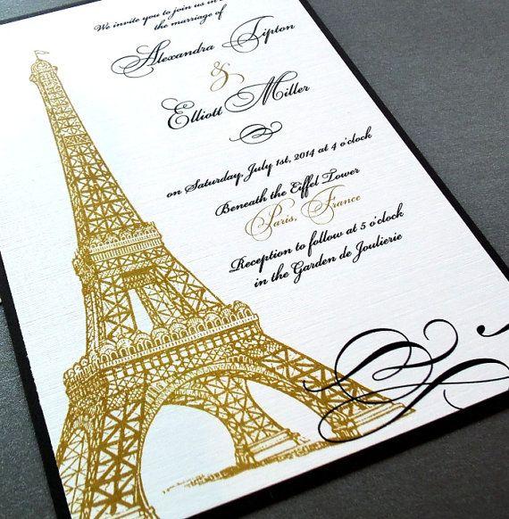 Eiffel tower paris invitations weddings quincea era by dearemma fairy tale wedding pinterest - Salon des seniors paris invitation ...