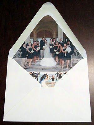 DIY wedding diy thank you envelope photo liner