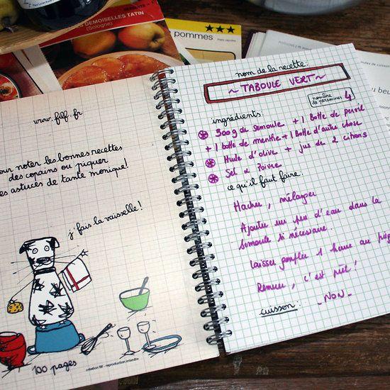 Cahier de cuisine filf diy menus planners recipes for Planificateur de cuisine en ligne
