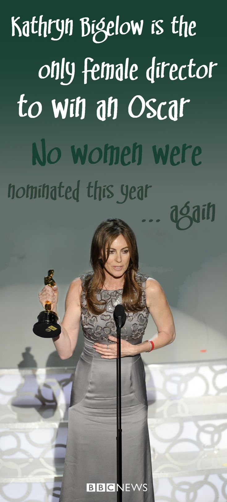 Kathryn Bigelow, the first woman to win the best director Oscar, was only the fourth female film-maker to be nominated in the category. She joined a select list featuring Sofia Coppola for Lost in Translation (2004), Jane Campion for The Piano (1994) and Italian director Lina Wertmuller for Pasaqualino Settebelleze (Seven Beauties) in 1977.