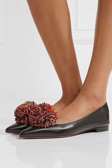 be997156cea CHRISTIAN LOUBOUTIN Playful Konstantina pompom-embellished leather  point-toe flats