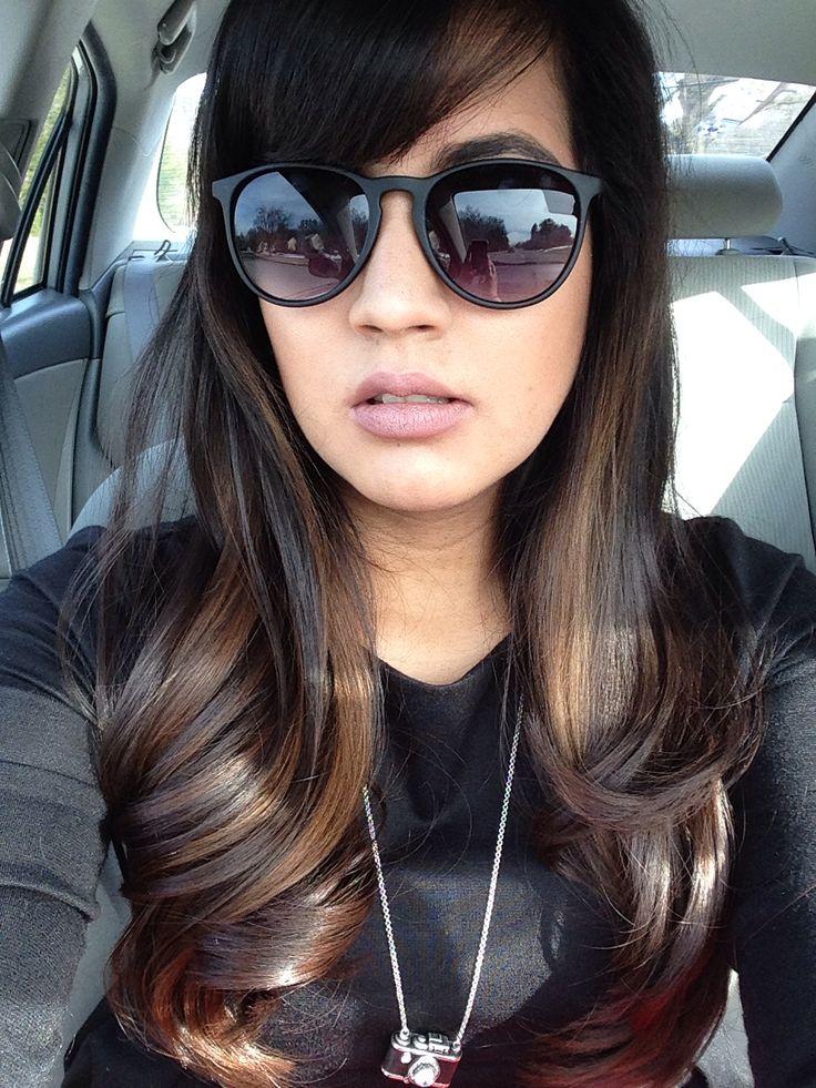 Dark long hair highlights ombré subtle ombre (Highlight by me :)