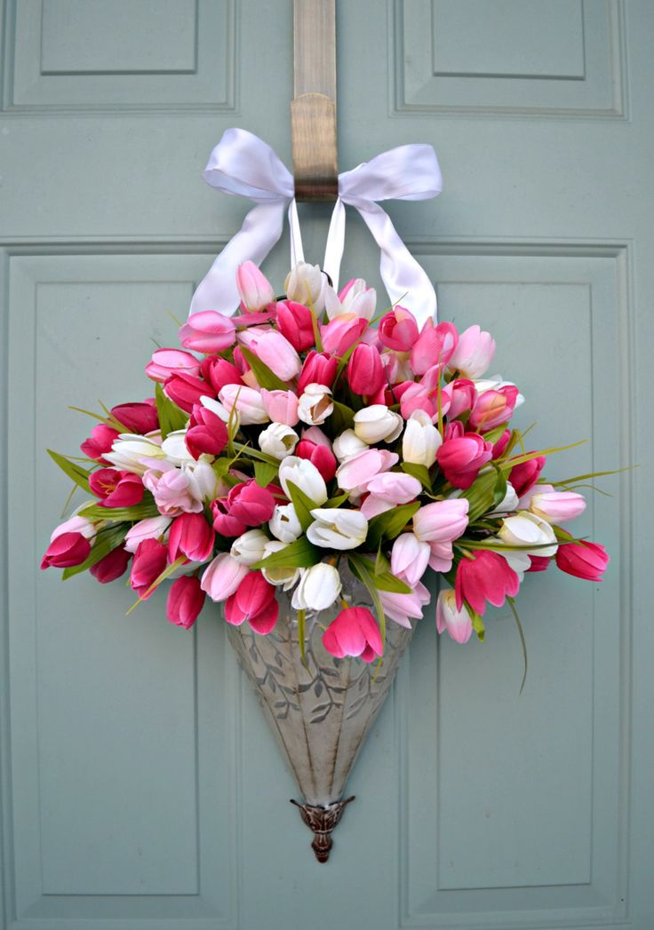 front door decorations for spring | Spring Tulips-Wreath- Front Door Decor- Container- Farmhouse- Hanging ...