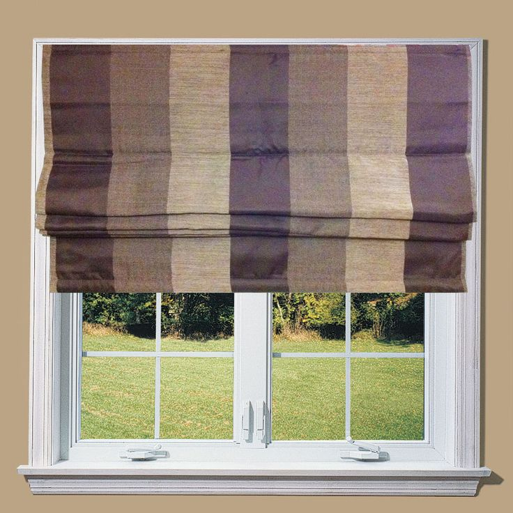 Lewis Chocolate Bold Stripe Lined Roman Blind in Home, Furniture & DIY, Curtains & Blinds, Blinds   eBay