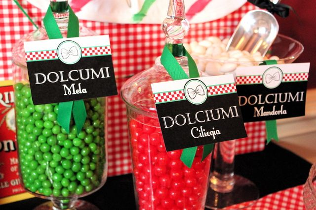 Gorgeous candy display at a pizza birthday party!  See more party ideas at CatchMyParty.com!