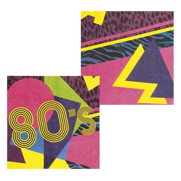 Wild, bunt und schrill! Genau so stellt man sich die 80er Jahre vor. Mit unseren Party-Servietten im 80er Jahre Partydesign erhalten Sie die perfekte Dekoration für Ihre 80er Mottoparty. In Verbindung mit weiteren 80er Jahre Tischdekorationen werden Sie den optimalen Rahmen für eine schrille 80er Jahre Mottoparty schaffen!  Lieferumfang: 12 Servietten im 80er Jahre Design.  Maße: Ca. 33 cm x 33 cm.