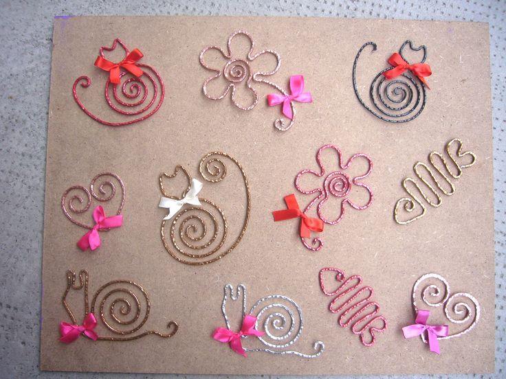 Wire shape ideas: Cats, flower, snails, fish, hearts
