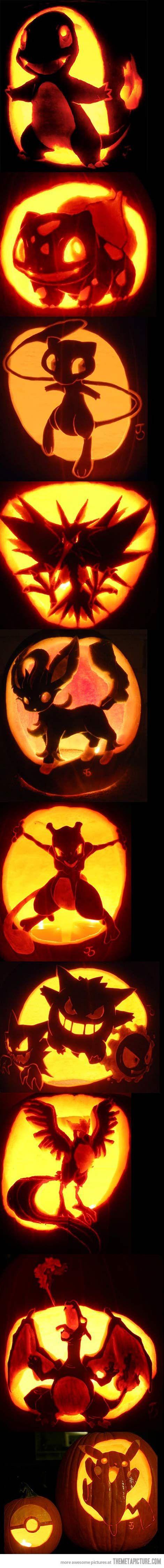 Halloween Pokémon Pumpkin Designs