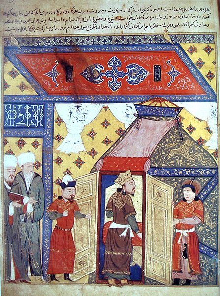 Ghazan (center) - Mahmud Ghazan (1271–1304) was the seventh ruler of the Mongol Empire's Ilkhanate division in modern-day Iran from 1295 to 1304. He was the son of Arghun and Quthluq Khatun, continuing a line of rulers who were direct descendants of Genghis Khan. Considered the most prominent of the Ilkhans, he is best known for making a political conversion to Islam in 1295 when he took the throne, marking a turning point for the dominant religion of Mongols in Central Asia.