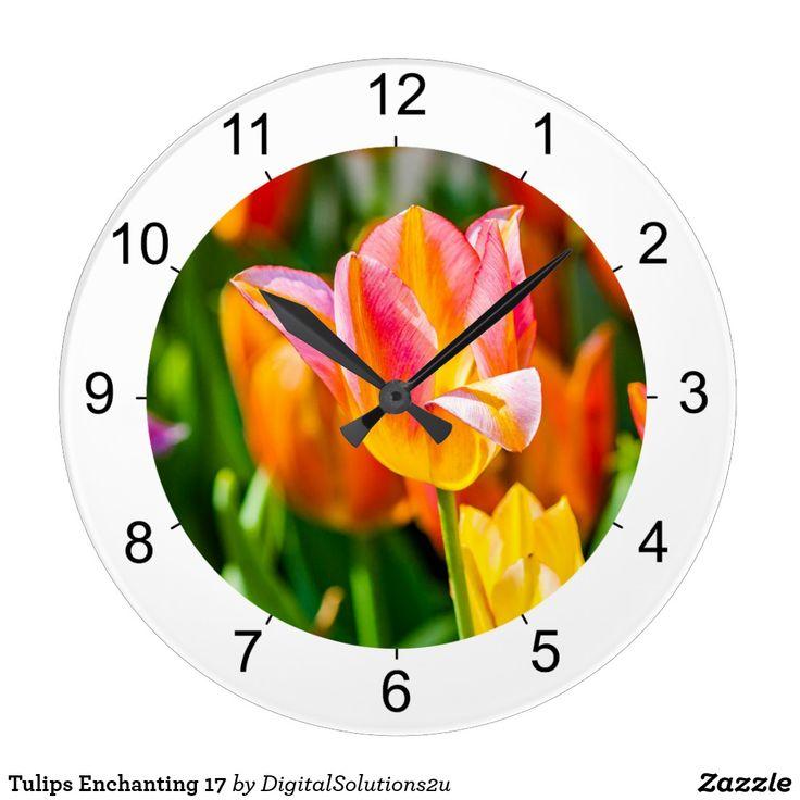 Tulips Enchanting 17 Large Clock