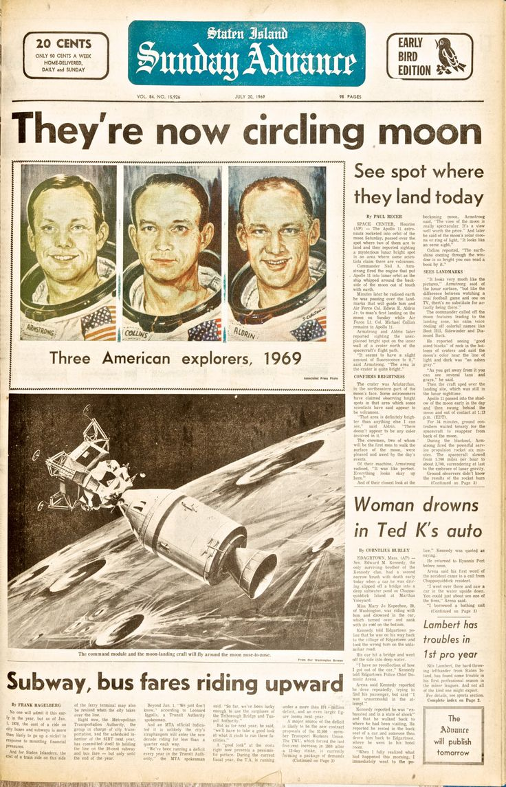 Subway, bus fares riding upward (and something about the moon) - newspaper headlines from July 20, 1969