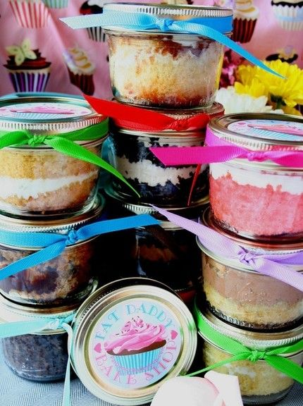 Cake in a JAR!  Single serving, easy to store and take with you on the go. way less mess than a cupcake.