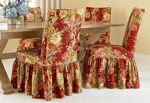 Ballad Bouquet Long Dining Room Chair Slipcovers Floral