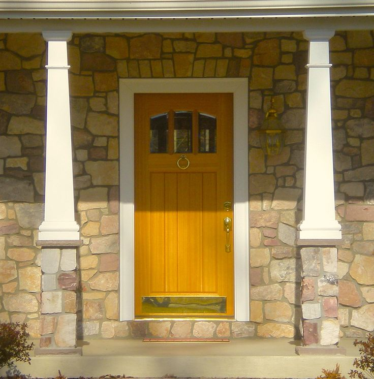Front Door Stone Wood Grand Entrance Pinterest