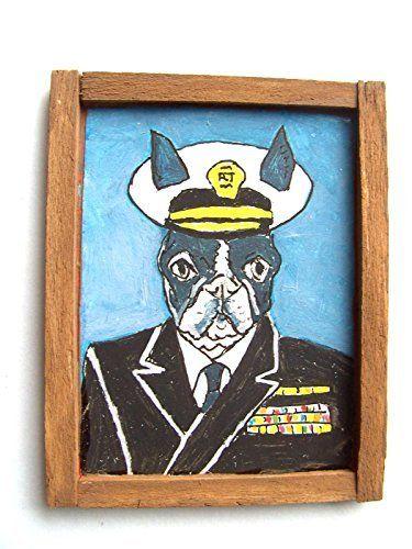 OOAK 1/12 Escala Casa De Muñecas Miniatura Pintura - ' Perros de Guerra ' - Boston Terrier Pintura - Captain Boston Terrier