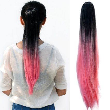 Neverland #Ladies #Women Clip-In Hair #Extension Two Tone Ponytail Dip Dye #Ombre Synthetic #Hair #Black #Pink