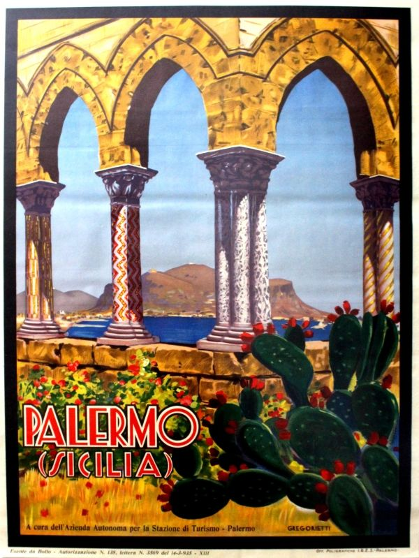 Original Vintage Posters -> Travel Posters -> Palermo Sicily ENIT - AntikBar