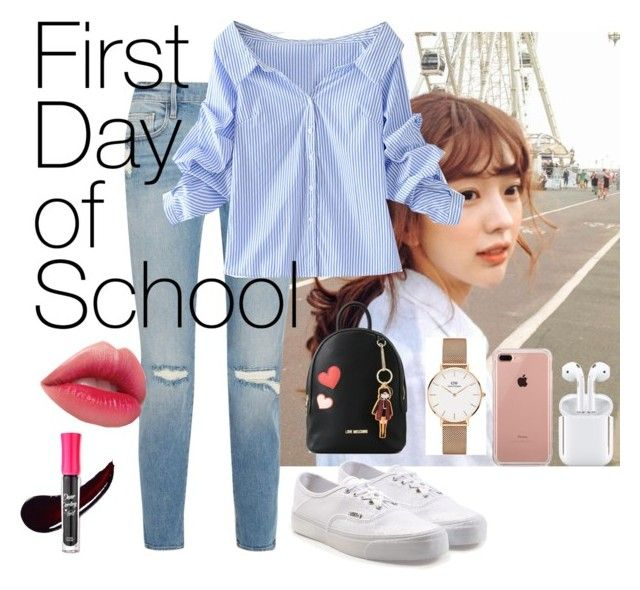 """Campus lyf"" by fhk21 on Polyvore featuring Frame, WithChic, Vans, Love Moschino, Daniel Wellington, Belkin and Etude House"
