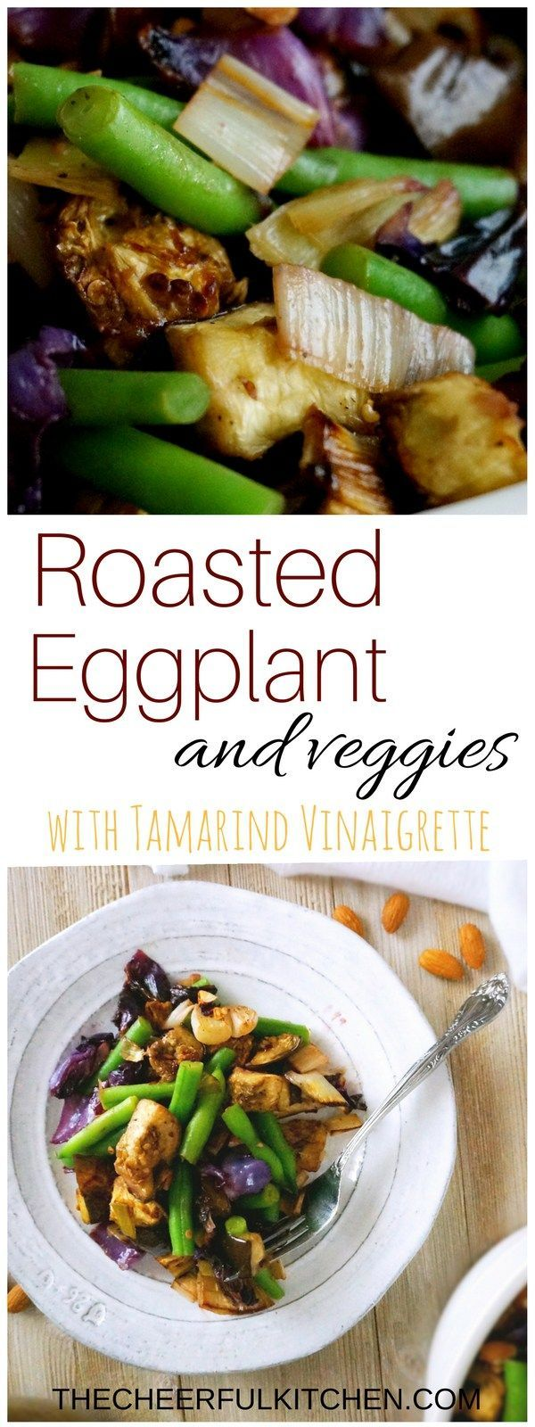 Roasted Eggplant + Veggies with Tamarind Vinaigrette is an unusual but totally delicious side dish or vegetarian main dish! Get the recipe at The Cheerful Kitchen