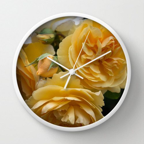 Rose photo wall clock, decorative yellow gold autumn Graham Thomas rose wall decor, floral photographic print for modern country home