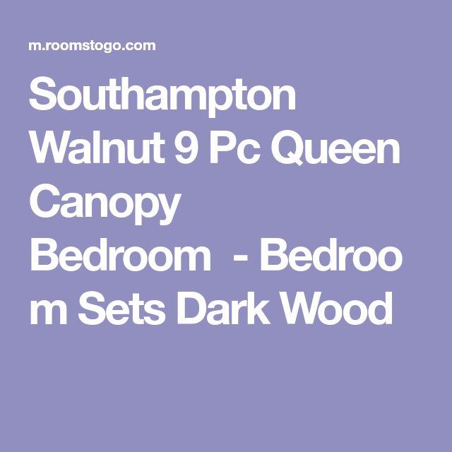 Southampton Walnut 9 Pc Queen Canopy Bedroom-Bedroom SetsDark Wood