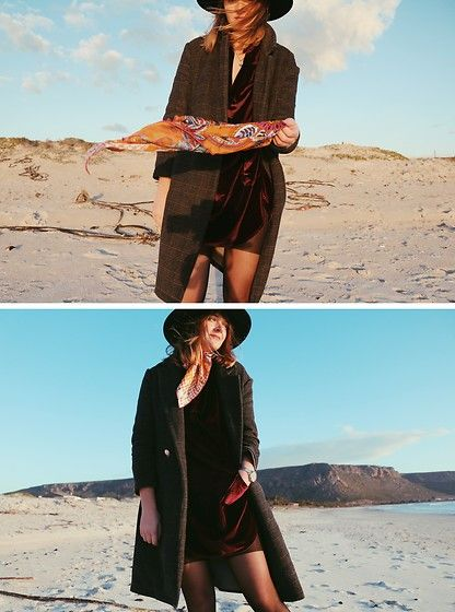 Get this look: http://lb.nu/look/8879801  More looks by Lootsin Loots: http://lb.nu/user/3241971-Lootsin-L  Items in this look:  Fraas Scarf, Zaful Dress, H&M Hat   #bohemian #romantic #vintage #parisian #velvet #fw #fashionweek #pfw #mfw