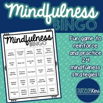 Practice 24 mindfulness strategies/techniques with this fun BINGO game! Game includes 30 unique BINGO cards (so you can play with an entire class for classroom guidance lessons!), 24 mindfulness task cards with instructions for the technique (task cards can be used as BINGO calling cards) and game board markers.Suggested game play: (1) long-term: incorporate mindfulness practices into your long-term counseling program plan, practicing one skill per week.
