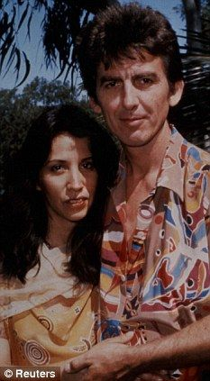 George Harrison with his wife Olivia - married in a private ceremony in 1978 at the Henley-on-Thames Register Office in England. The same year, Olivia gave birth to the couple's son, musician Dhani Harrison.