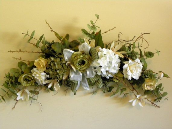 27 best christmas images on pinterest floral arrangements floral silk flower swag roses hydrangea green ivory by tlgsilkfloral 6995 mightylinksfo