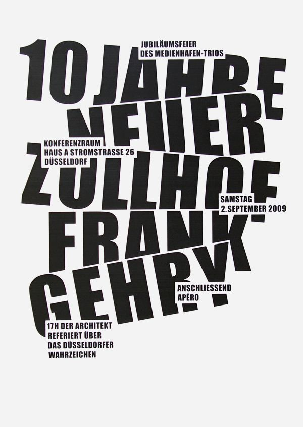 ockupationsmakt: Posters for Frank Gehry by Lisa... - Dark side of typography