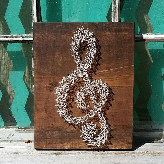$20 Etsy String Art  String Art Treble Clef  Nail Art  #Handmade by NailedItDesign.etsy.com For the music lover! Great gift idea.