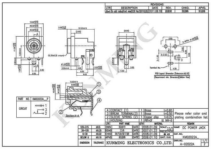 EIAJ Type 4 Electrical DC Power Jack KM02022A Electric Kunming Female DC Jack Socket DIP