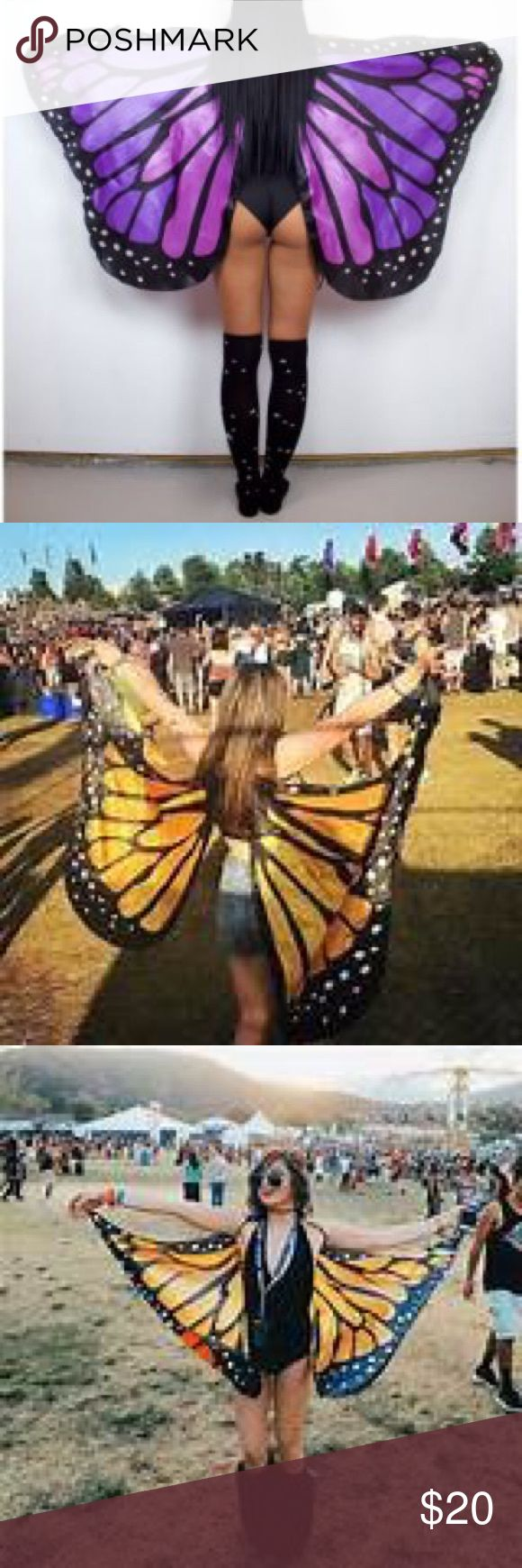 Butterfly wings Brand new never used. Price firm! I paid $38 online   Festival rave edm themooncult iheartraves electric forest edc alienoutfitters Accessories