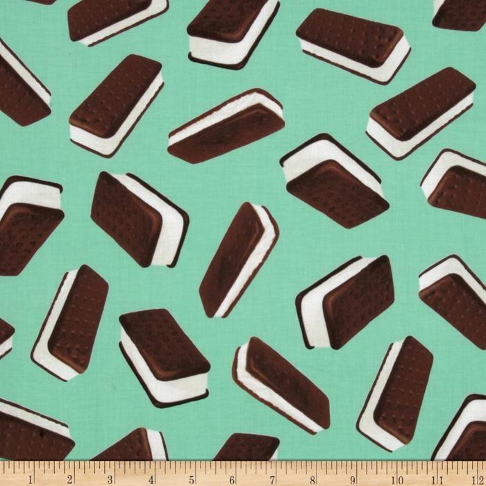 Brain Freeze Ice Cream Sandwiches Mint Green Discount Designer Fabric Fun