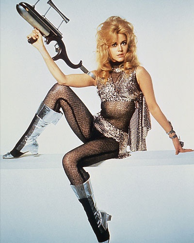 Barbarella: Futuristic space cadet sets out to save Planet Earth from a weapon of mass destruction using her beauty and, especially, her sexuality. (Barbarella, 1968, Roger Vadim. Portrayed by Jane Fonda)