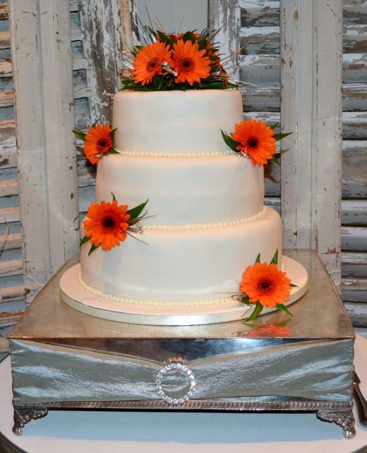 Wedding cake. Orange, yellow, grey & white theme.