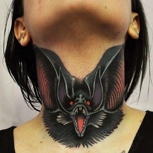 Bat Throat Tattoo by pznkart