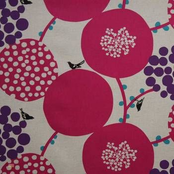 Latest Designer Fabric 'Large Scale Balls in Pink and Purple' by Echino (JPN). Roman blinds and curtains make to order online.