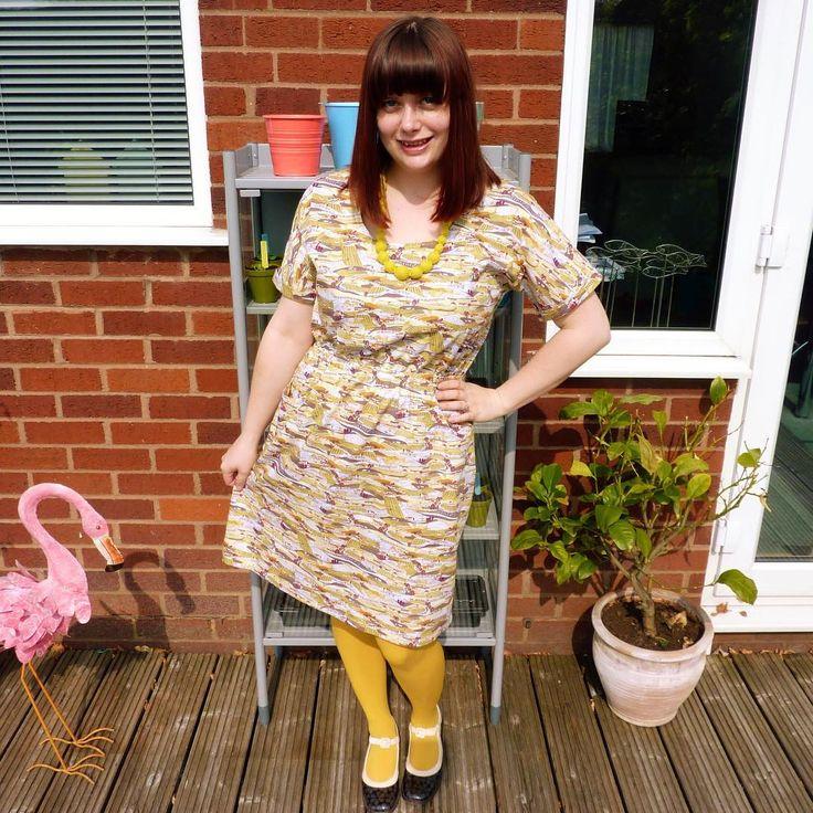 Tilly & The Buttons Bettine dress with an A-line skirt in Makower Landscape print fabric