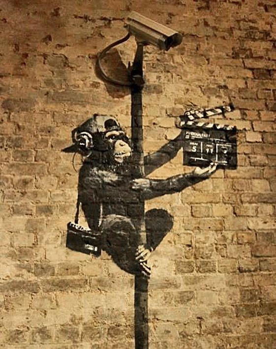 Banksy canvas Monkey Director Street Art Grafitti 16 x 20 inch premium print